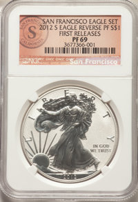 2012-S $1 Reverse Proof Silver Eagle, 75th Anniversary Set, First Releases PR69 NGC. NGC Census: (3001/4110). PCGS Popul...