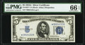 Small Size:Silver Certificates, Fr. 1651* $5 1934A Silver Certificate Star. PMG Gem Uncirculated 66 EPQ.. ...