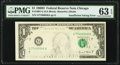 Error Notes:Inking Errors, Insufficient Inking of Face Printing Error Fr. 1907-G $1 1969D Federal Reserve Note. PMG Choice Uncirculated 63 EPQ.. ...