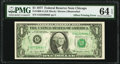 Full Back to Face Offset Error Fr. 1909-G $1 1977 Federal Reserve Note. PMG Choice Uncirculated 64 EPQ