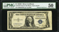 Error Notes:Foldovers, Printed Fold Error Fr. 1613N $1 1935D Narrow Silver Certificate. PMG About Uncirculated 50.. ...