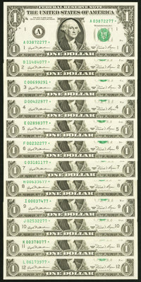 Complete District Star Set Fr. 1911-A*-L* $1 1981 Federal Reserve Star Notes Choice Crisp Uncirculated or Better. ... (T...