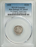 Seated Half Dimes, 1838 H10C Small Stars, No Drapery, -- Rim Damage -- PCGS Genuine. AU Details. Mintage 2,225,000....