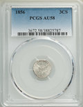 1856 3CS AU58 PCGS. PCGS Population: (56/278). NGC Census: (42/240). CDN: $200 Whsle. Bid for NGC/PCGS AU58. Mintage 1,4...