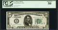 Fr. 1950-E $5 1928 Federal Reserve Note. PCGS About New 50