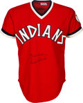 Baseball Collectibles:Uniforms, 1977 Frank Robinson Game Worn & Signed Cleveland Indians Jersey, MEARS A10....