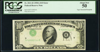 Inverted Third Printing Error Fr. 2011-D $10 1950A Federal Reserve Note. PCGS About New 50