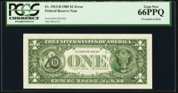 Third Printing on Back Error Fr. 1913-D $1 1985 Federal Reserve Note. PCGS Gem New 66PPQ