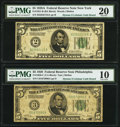 Small Size:Federal Reserve Notes, Fr. 1950-C $5 1928 Federal Reserve Note PMG Very Good 10;. Fr. 1951-B $5 1928A Federal Reserve Note PMG Very Fine 20.. ... (Total: 2 items)