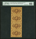 Fractional Currency:First Issue, Fr. 1230 5¢ First Issue Uncut Strip of Four PMG Gem Uncirculated 66 EPQ.. ...