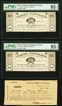 (Hertford), NC- Perquimans County $1; $1 Apr. 25, (18)62 Two Consecutive Examples PMG Gem Uncirculated 65 EPQ<