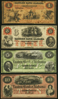 Eufaula, AL- Eastern Bank of Alabama $1; $3 Mar. 15, 1860; $5 18__; $10 18__ Very Good or Better. ... (Total: 4 notes)