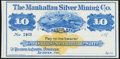 Obsoletes By State:Nevada, Austin, NV- Manhattan Silver Mining Co. $10 187_ Remainder Crisp Uncirculated.. ...