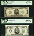 Fr. 1957-B $5 1934A Federal Reserve Note. PCGS Choice New 63PPQ; Fr. 1958-C $5 1934B Federal Reserve Note. PCGS Choice N...