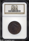 "1826 1C MS64 Red and Brown NGC. The current Coin Dealer Newsletter (Greysheet) wholesale ""bid"" price is $1310..."