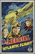 "Movie Posters:Adventure, Atlantic Flight (Monogram, 1937). One Sheet (27"" X 41""). Adventure.Starring Dick Merrill, Paula Stone, Weldon Heyburn, Ivan..."