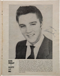 Elvis Presley 1955 Andy Griffith Concert Program Signed by the King plus Scotty Moore, Bill Black & D.J. Fontana