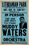 Music Memorabilia:Posters, Muddy Waters 1957 Genuine, Original Boxing-Style Concert Poster Outside of Chicago....