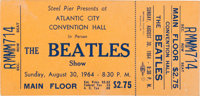The Beatles Atlantic City Convention Hall Unused Concert Ticket (Steel Pier, 1964)