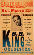 Music Memorabilia:Posters, B.B. King 1961 Eagles Ballroom, Seattle Concert Poster Autographed At the Time....