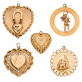Estate Jewelry:Pendants and Lockets, Ruby, Sapphire, Diamond, Gold Charms. ... (Total: 5 Items)