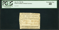 North Carolina April 23, 1761 20s PCGS Extremely Fine 40