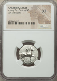 Ancients: CALABRIA. Tarentum. Ca. early 3rd century BC. AR stater or didrachm (21mm, 2h). NGC XF
