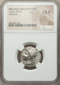 Ancients: LUCANIA. Metapontum. Ca. 330-280 BC. AR stater (21mm, 6h). NGC Choice Fine