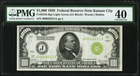 Fr. 2210-J $1,000 1928 Light Green Seal Federal Reserve Note. PMG Extremely Fine 40