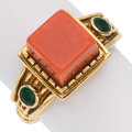 Coral, Emerald, Gold Ring