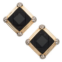Black Onyx, Diamond, Gold Earrings