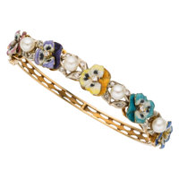 Diamond, Cultured Pearl, Enamel, Gold Bracelet