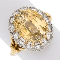 Yellow Sapphire, Diamond, Platinum, Gold Ring
