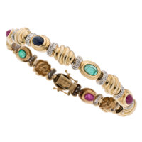 Multi-Stone, Diamond, Gold Bracelet