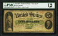 Large Size:Demand Notes, Fr. 1 $5 1861 Demand Note PMG Fine 12.. ...