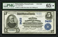 Philadelphia, PA - $5 1902 Plain Back Fr. 599 The Tenth National Bank Ch. # 3423 PMG Gem Uncirculated 6