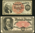 Fr. 1301 25¢ Fourth Issue Very Fine-Extremely Fine; Fr. 1380 50¢ Fifth Issue Very Fine. ... (Total: 2 notes)