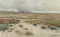 Harvey Otis Young (American, 1840-1901) Prairie Landscape Oil on board 14-1/2 x 23 inches (36.8 x