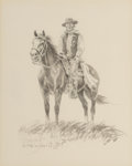 Works on Paper, Olaf Wieghorst (American, 1899-1988). Horse and Rider. Ink wash and pencil on paper. 10 x 8 inches (25.4 x 20.3 cm) (sig...