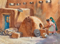 Works on Paper, Tom Hill (American, 1922-1978). Baking Bread, Taos Pueblo. Watercolor on paper. 21-1/2 x 29-1/2 inches (54.6 x 74.9 cm) ...