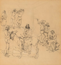 Edward Borein (American, 1873-1945) Zuni Traders Ink on paper 11 x 10 inches (27.9 x 25.4 cm) (si