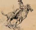 Works on Paper, Edward Borein (American, 1873-1945). Cowboy and Horse Moving to Right. Ink on paper. 4-3/4 x 5-1/2 inches (12.1 x 14.0 c...