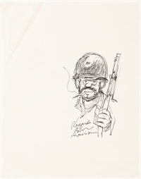 Bill Mauldin Mug Shot of Infantryman Joe Original Art (c. 1950s-60s)