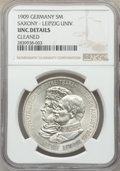 German States:Saxony, German States: Saxony. Friedrich August III 5 Mark 1909 UNC Details (Cleaned) NGC,...