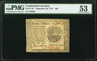 Continental Currency September 26, 1778 $20 PMG About Uncirculated 53