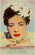 Music Memorabilia:Posters, Billie Holiday 1940's Onyx Club New York City Color Postcard....