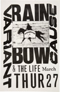 "Music Memorabilia:Posters, Variant Cause/The Life 11"" x 17"" Rainbow Concert Poster (1986)...."