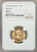 German States: Prussia. Wilhelm II gold 20 Mark 1914-A MS61 NGC