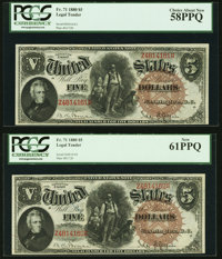 Fr. 71 $5 1880 Legal Tenders Two Consecutive Examples PCGS Choice About New 58PPQ; New 61PPQ