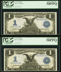 Large Size:Silver Certificates, Two Consecutive Fr. 236 $1 1899 Silver Certificates PCGS Choice About New 58PPQ.. ... (Total: 2 notes)